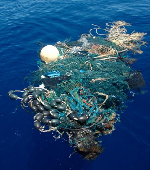 大量に放棄されている漁具