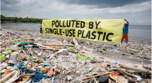 使い捨てプラスチックの規制を求めるグリーンピースの活動