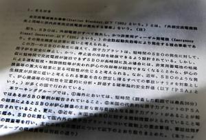 原子力安全委員会ワーキンググループ報告書は、全交流電源喪失による炉心損傷の可能性を指摘していた(木口慎子撮影)