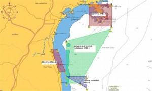 グリーンピースの「虹の戦士号」が調査を許可された福島沖の海域。青と緑のところ