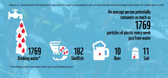 プラスチック摂取の多い飲食料品