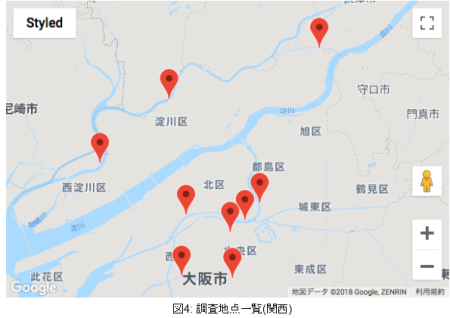 大阪周辺の調査地点