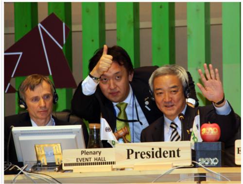 2010年、名古屋で開いたCBD・COP10で議長を務める当時の環境相・松本龍氏