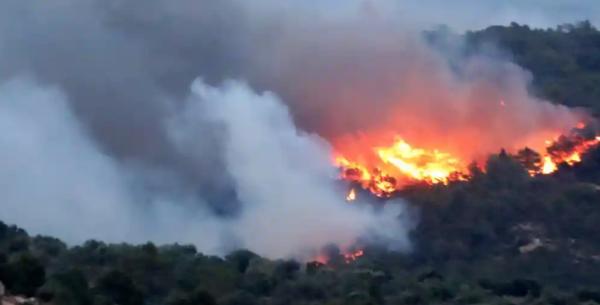 燃え広がるスペインでの山火事