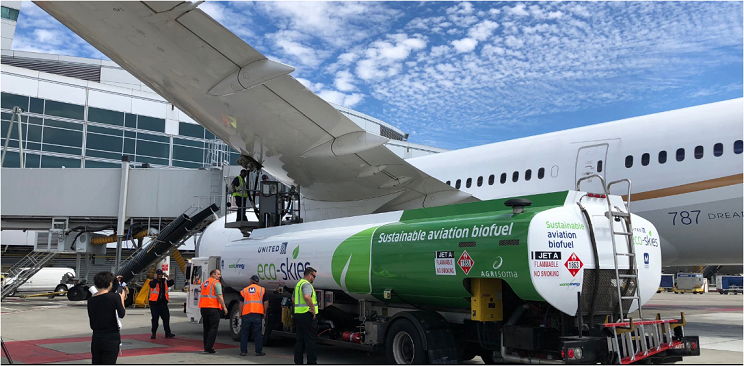 代替航空燃料はすでに活用されている。米サンフランシスコ空港