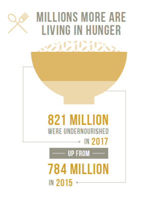 飢餓比率は改善傾向だが、依然、8億人以上が餓えに苦しむ