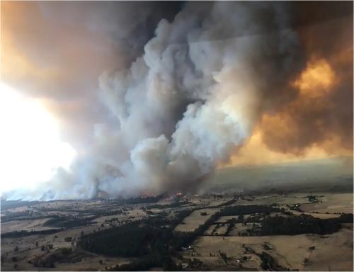 立ち上る煙は、2000km離れたニュージーランドにまで飛散