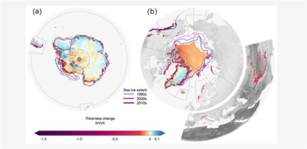 南半球㊧と北半球㊨の氷の退潮度合い