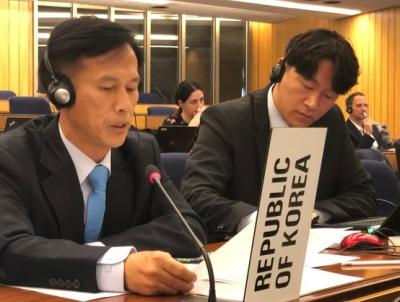福島第一原発の汚染処理水排出問題で意見を述べる韓国代表