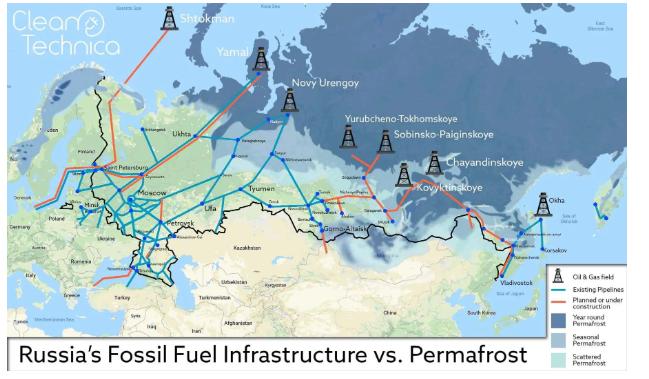 永久凍土帯の上に展開されているロシアの石油・ガスネットワーク