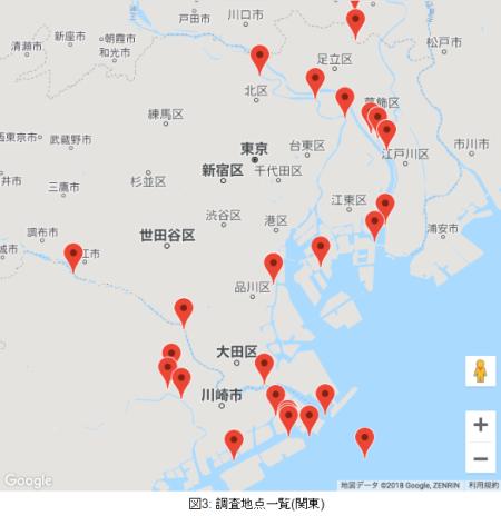 東京周辺の調査地点