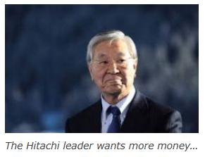 時期権団蓮会長に就任する日立の中西社長。英メディアには「日立のリーダーは、もっとマネーを、と要求している」と説明されている