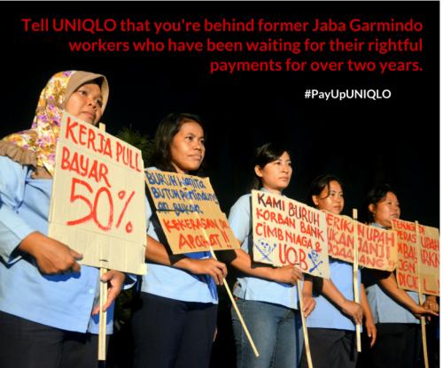 未払い賃金・補償の支払いをユニクロに求めるインドネシアの労働者たち