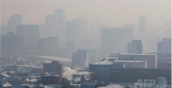 大気汚染が年々悪化するモンゴルの首都、ウランバートル
