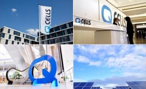Qセルズは世界最大規模の太陽電池のリーディングカンパニーです、とのうたい文句がはためいていた