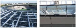 図1 スタジアムの屋根に設置された太陽光発電モジュール(左)。屋根の下の観客席にも光が入る(右)。出典:サンテックパワージャパン