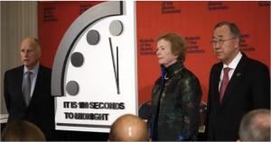 「終末時計」を公表する㊧からJerry Brown前カリフォルニア州知事、Mary Robinson前アイルランド大統領、潘基文前国連事務総長
