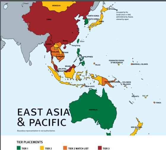 東アジア・太平洋地域での各国評価。緑が「Tier1」、日本は「Tier2」、中国・北朝鮮は「Tier3」