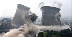 Demolition of coal-fired units in Chiping County, east China's Shandong Province, following a move by local government to clean up illegal constructions that violate environmental standards. Photograph: Xu Suhui/Xinhua Press/Corbis