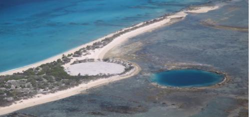 得るにーににょ島にある廃棄物貯留施設。底から放射性物質が流出しているリスクも