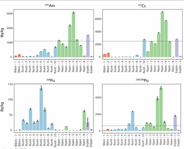 各調査地点で検出された放射性核種の濃度