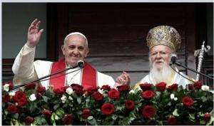 フランシス法王(㊧。右はヴァルソロメオス1世総主教