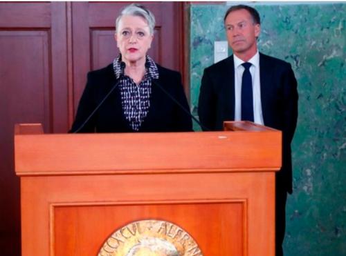 ノルウェーのオスロで、ノーベル平和賞を反核団体「核兵器廃絶国際キャンペーン(ICAN)」に授与すると発表するノルウェー・ノーベル委員会のベリト・レイスアンデルセン委員長