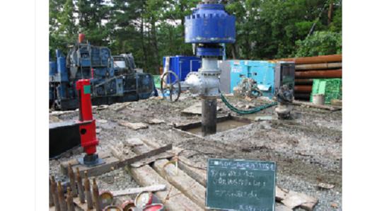 掘削が完成した新しい地熱井戸