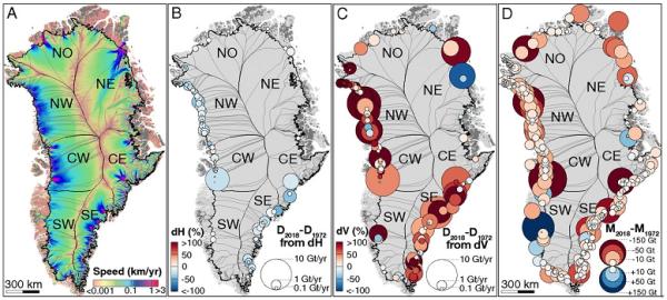 グリーンランドを7地区に分けて調査。Bは氷河の厚み、Cは氷の解ける速さ、Dは累積の消失量