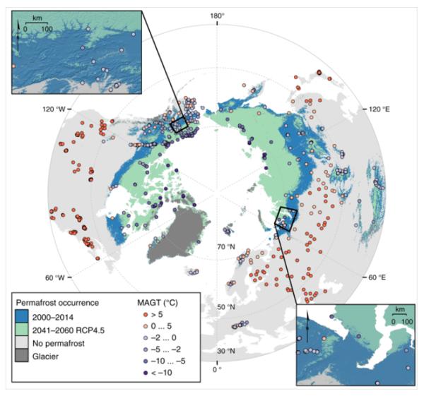 北極圏域で永久凍土の融解し易い地点