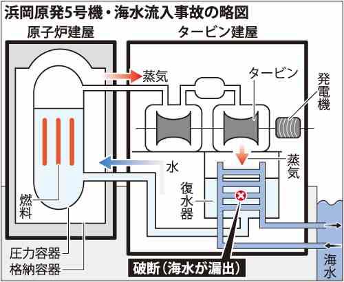 浜岡原発5号機・海水流入事故の略図