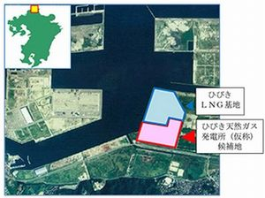 図1 「ひびき天然ガス発電所」の候補地。出典:西部ガス