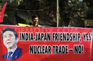 安倍訪問反対のデモ(ムンバイで)