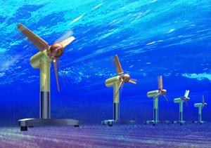 花開くか、タービン型の潮力発電システム