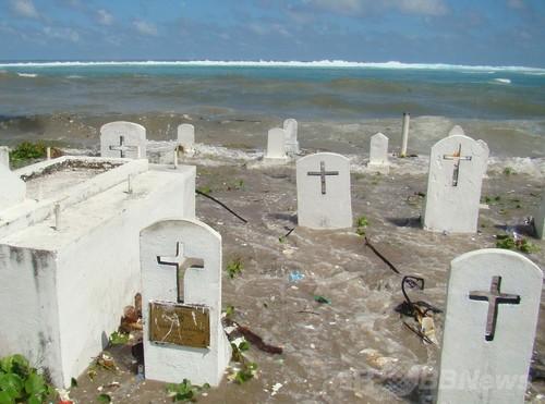 海岸浸食が激しいマーシャル諸島マジュロ環礁の海岸沿いの墓地