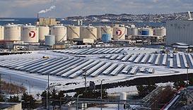 営業運転を開始した東北電力の八戸太陽光発電所
