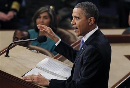 2月12日、オバマ米大統領は一般教書演説で、米国にはさらなる気候変動対策が必要だとし、議会が市場主導の温室効果ガス削減策を続けない場合には大統領権限を行使して対応する方針を示した。ワシントンの米連邦議会議事堂で撮影(2013年 ロイター/Jason Reed)