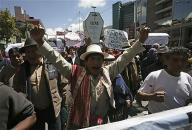 抗議活動に参加した先住民(ボリビア・ラパス)