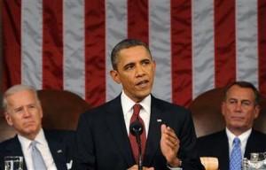 1月24日、オバマ米大統領は一般教書演説で、シェールガスの開発を支持する一方、安全なエネルギー開発が重要だとの認識を示した。代表撮影(2012年 ロイター)