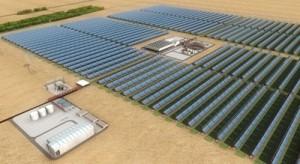 アブダビの南西約120キロ、マディナ・ザイードに建設予定の「シャムス1」集光型太陽熱発電所(CSP)の完成イメージ。(c)ecool/Abengoa Solar