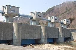 大津波が村中心部へ流れるのを防いだ高さ15・5メートルの普代水門=普代村